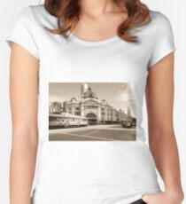 Flinders to Docklands Sepia Women's Fitted Scoop T-Shirt