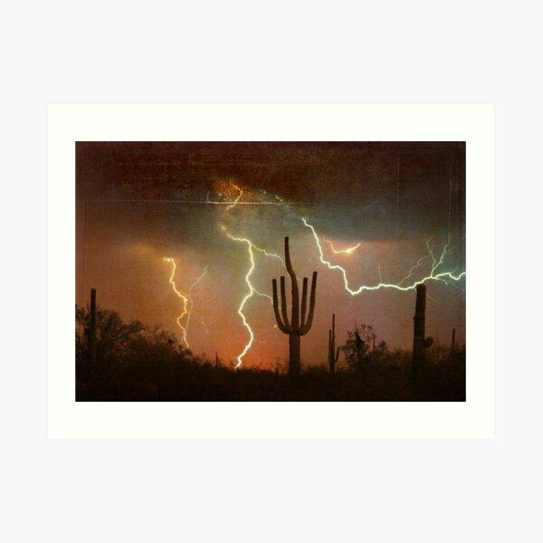 Arizona Saguaro Lightning Storm Print Art Print