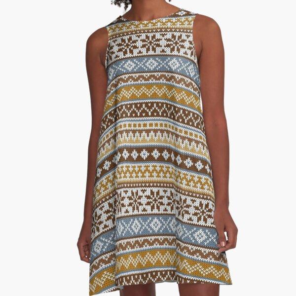 Fair Isle Toffee A-Line Dress