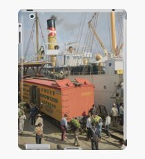 Unloading bananas from steamer, New Orleans ca 1900 iPad Case/Skin