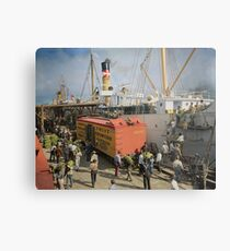 Unloading bananas from steamer, New Orleans ca 1900 Metal Print