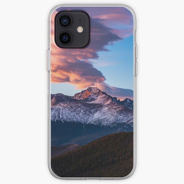 Fire on the Mountain - Sunrise Illuminates Cloud Over Longs Peak in Colorado iPhone Soft Case