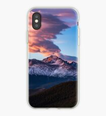 Fire on the Mountain - Sunrise Illuminates Cloud Over Longs Peak in Colorado iPhone Case