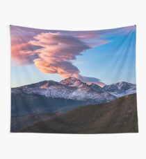 Fire on the Mountain - Sunrise Illuminates Cloud Over Longs Peak in Colorado Wall Tapestry