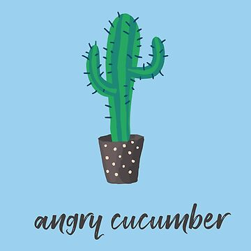 """Funny """"Angry cucumber"""" Cactus Sticker by Legendemax"""