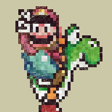 Mario and Yoshi´s Victory Vintage Pixels by Lidra