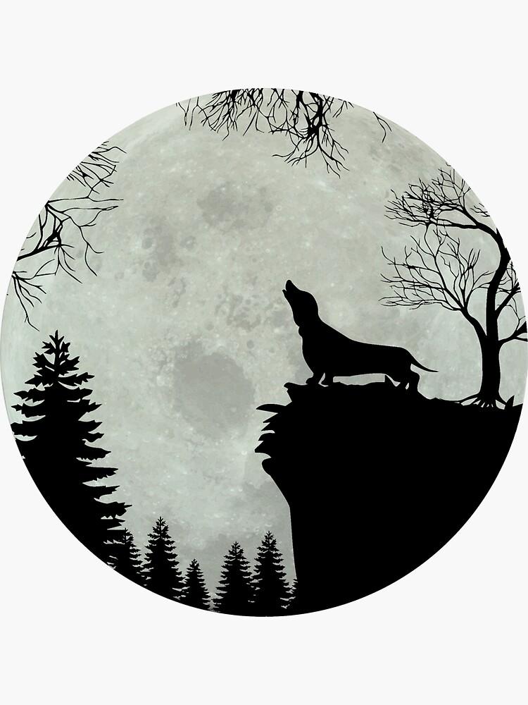 Dachshund Teckel Dachshund moon by Anfrato
