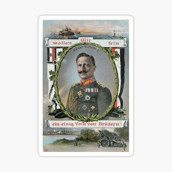 Kaiser Wilhelm II patriotic WWI card Sticker