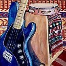Blue Bass Guitar by Julie Ann Accornero