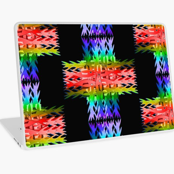 Rainbow cross with fish Laptop Skin