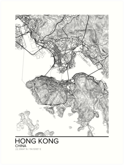artístico moderno mapa-foto Poster Regalo de impresión de arte China Guangzhou