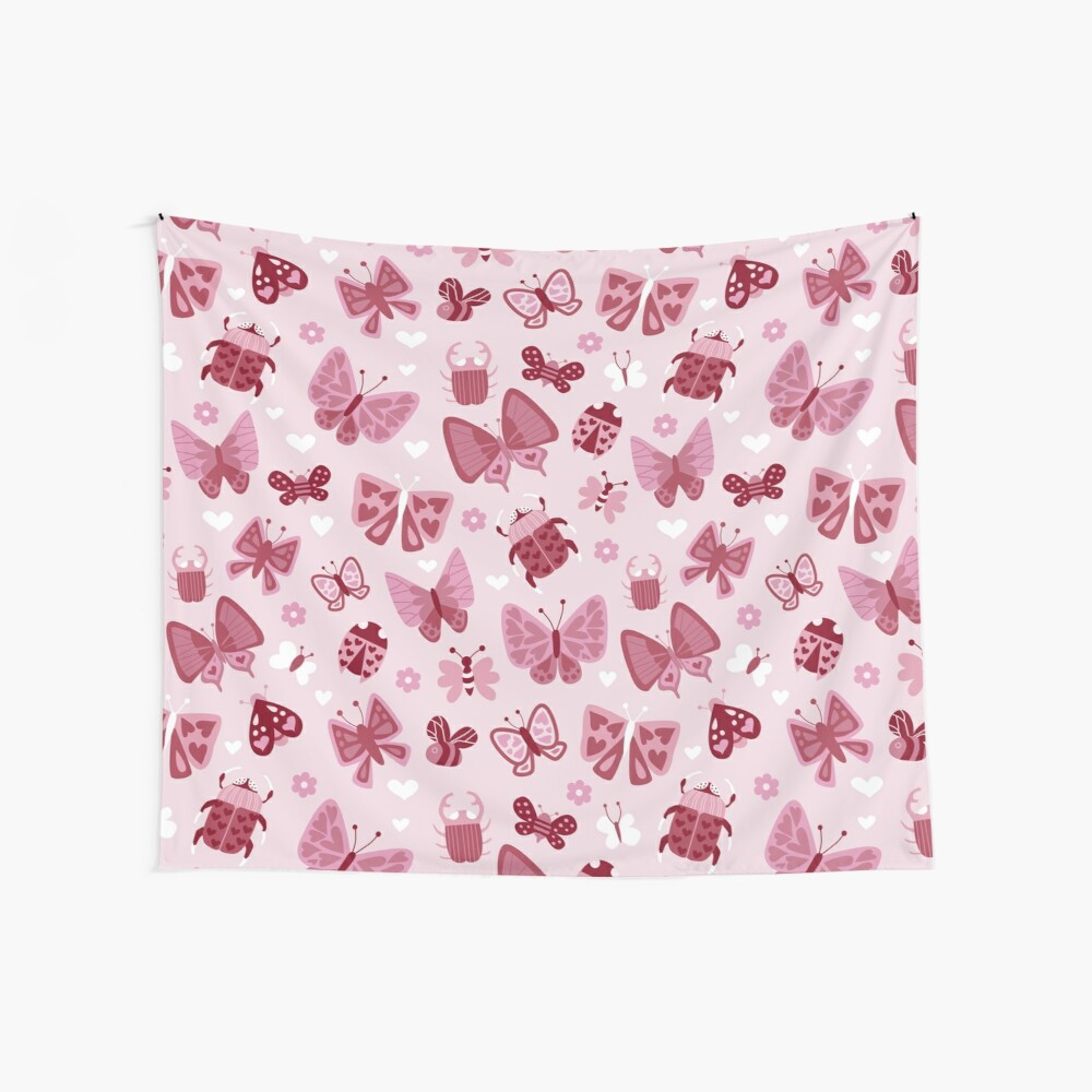 Love Bugs in Pink + Red Wall Tapestry