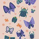 Love Bugs in Purple + Blue by latheandquill