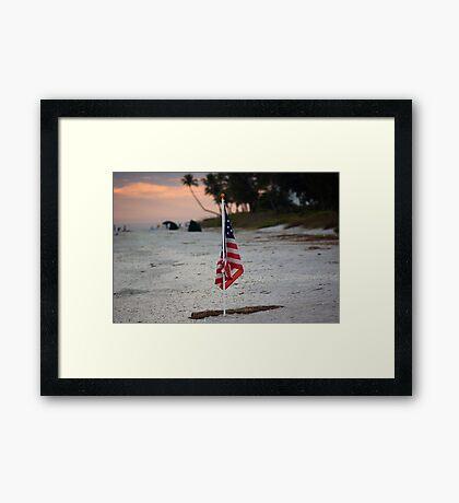 US Flag on Beach Framed Print