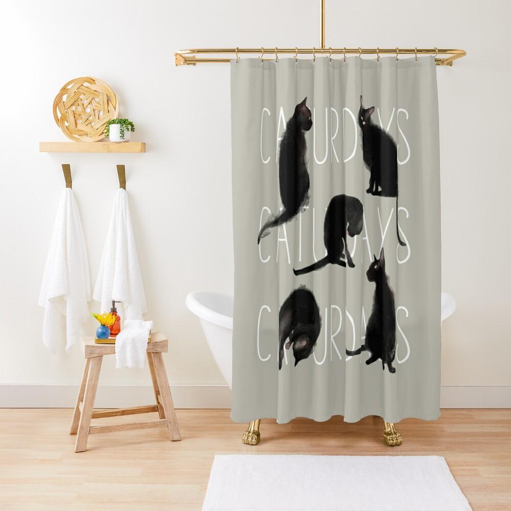 Caturdays - Black Cat Shower Curtain