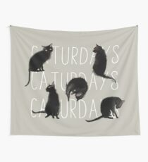 Caturdays - Black Cat Wall Tapestry