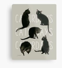 Caturdays - Black Cat Metal Print