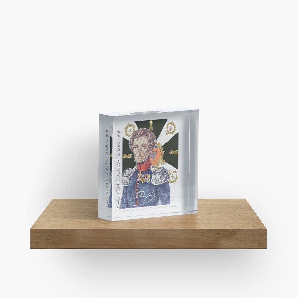 Carl von Clausewitz Portrait with Prussian Flag  Acrylic Block