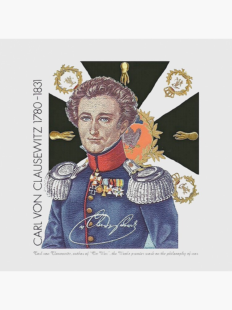 Carl von Clausewitz Portrait with Prussian Flag  by edsimoneit