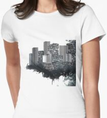 Abstract Digital Urban Setting Women's Fitted T-Shirt