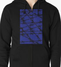 Barbed Wire [Blue] by Chillee Wilson Zipped Hoodie