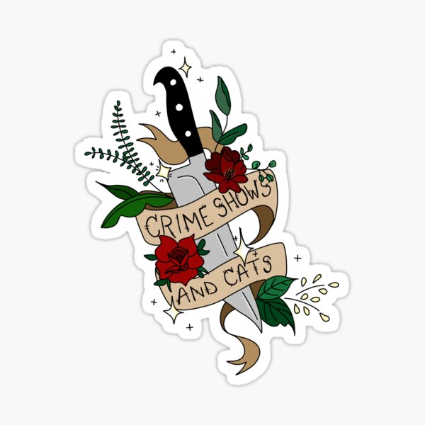 Crime shows & cats neotraditional tattoo sticker Sticker