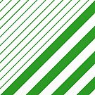 Green And White Stripes by Printpix