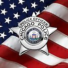 Chicago Police Department Badge - CPD Police Officer Star over American Flag by Serge Averbukh