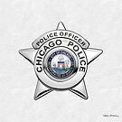 Chicago Police Department Badge - CPD Police Officer Star over White Leather by Serge Averbukh