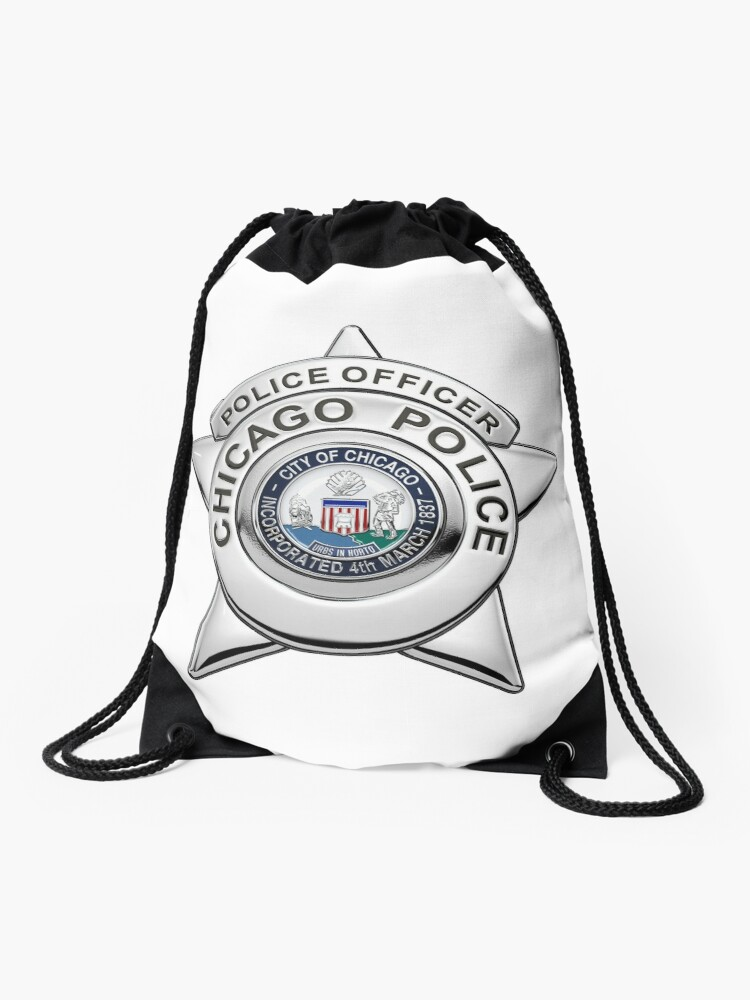 Chicago Police Department Badge - CPD Police Officer Star over White  Leather   Drawstring Bag