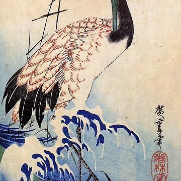 Crane And Rising Sun by Utagawa Hiroshige (Reproduction) by RozAbellera