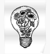 Póster bombilla de la flor