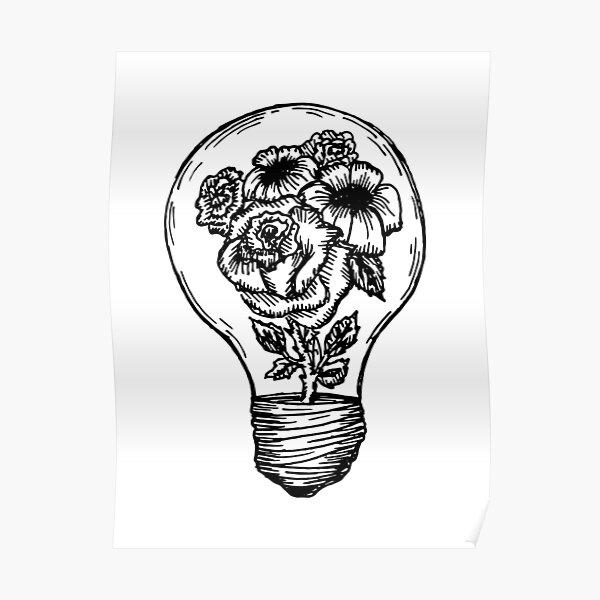 flower lightbulb Poster