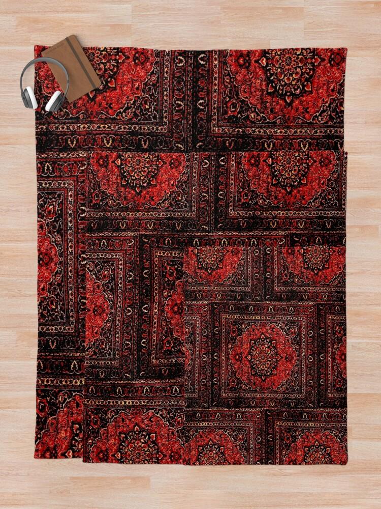 Alternate view of Persian carpet look in rose Throw Blanket
