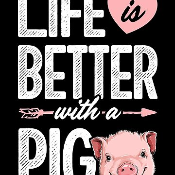 Life is Better With a Pig T shirt Pigs Farm Farmer Girls Tee by LiqueGifts