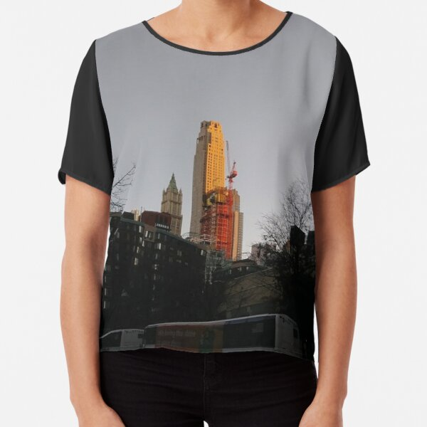 #NewYorkCity #NYC #NewYork #NY #Manhattan #city #architecture #street #travel #road #skyscraper #tower #outdoors #cityscape #sunset #sky #dusk #traffic #vertical #builtstructure #nopeople Chiffon Top