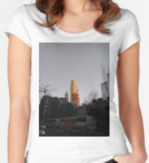 #NewYorkCity #NYC #NewYork #NY #Manhattan #city #architecture #street #travel #road #skyscraper #tower #outdoors #cityscape #sunset #sky #dusk #traffic #vertical #builtstructure #nopeople Women's Fitted Scoop T-Shirt