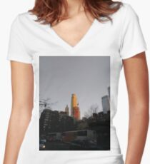 #NewYorkCity #NYC #NewYork #NY #Manhattan #city #architecture #street #travel #road #skyscraper #tower #outdoors #cityscape #sunset #sky #dusk #traffic #vertical #builtstructure #nopeople Women's Fitted V-Neck T-Shirt
