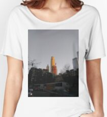 #NewYorkCity #NYC #NewYork #NY #Manhattan #city #architecture #street #travel #road #skyscraper #tower #outdoors #cityscape #sunset #sky #dusk #traffic #vertical #builtstructure #nopeople Women's Relaxed Fit T-Shirt