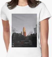 #NewYorkCity #NYC #NewYork #NY #Manhattan #city #architecture #street #travel #road #skyscraper #tower #outdoors #cityscape #sunset #sky #dusk #traffic #vertical #builtstructure #nopeople Women's Fitted T-Shirt