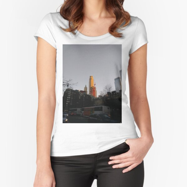 #NewYorkCity #NYC #NewYork #NY #Manhattan #city #architecture #street #travel #road #skyscraper #tower #outdoors #cityscape #sunset #sky #dusk #traffic #vertical #builtstructure #nopeople Fitted Scoop T-Shirt
