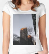 #NewYorkCity #NYC #NewYork #NY #Manhattan #skyscraper #tower #tree #architecture #outdoors #city #sky #environment #vertical #colorimage #nopeople #builtstructure #day #lightnaturalphenomenon #modern Women's Fitted Scoop T-Shirt