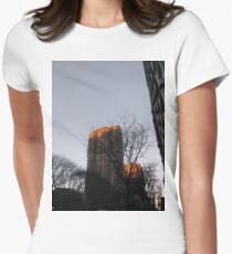 #NewYorkCity #NYC #NewYork #NY #Manhattan #skyscraper #tower #tree #architecture #outdoors #city #sky #environment #vertical #colorimage #nopeople #builtstructure #day #lightnaturalphenomenon #modern Women's Fitted T-Shirt