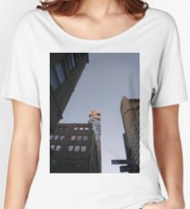 #NewYorkCity #NYC #NewYork #NY #Manhattan #business #city #architecture #sky #office #skyscraper #outdoors #technology #tower #modern #finance #cityscape #window #vertical #colorimage #nopeople Women's Relaxed Fit T-Shirt
