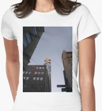 #NewYorkCity #NYC #NewYork #NY #Manhattan #business #city #architecture #sky #office #skyscraper #outdoors #technology #tower #modern #finance #cityscape #window #vertical #colorimage #nopeople Women's Fitted T-Shirt