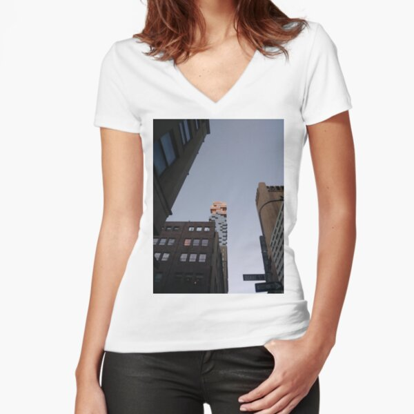 #NewYorkCity #NYC #NewYork #NY #Manhattan #business #city #architecture #sky #office #skyscraper #outdoors #technology #tower #modern #finance #cityscape #window #vertical #colorimage #nopeople Fitted V-Neck T-Shirt