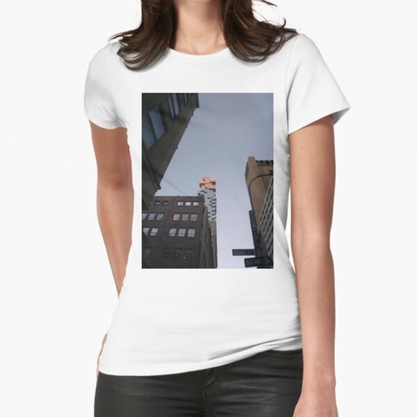 #NewYorkCity #NYC #NewYork #NY #Manhattan #business #city #architecture #sky #office #skyscraper #outdoors #technology #tower #modern #finance #cityscape #window #vertical #colorimage #nopeople Fitted T-Shirt