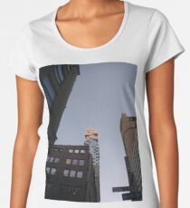 #NewYorkCity #NYC #NewYork #NY #Manhattan #business #city #architecture #sky #office #skyscraper #outdoors #technology #tower #modern #finance #cityscape #window #vertical #colorimage #nopeople Women's Premium T-Shirt