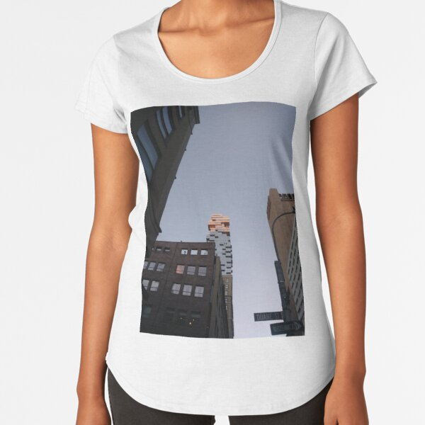 #NewYorkCity #NYC #NewYork #NY #Manhattan #business #city #architecture #sky #office #skyscraper #outdoors #technology #tower #modern #finance #cityscape #window #vertical #colorimage #nopeople Premium Scoop T-Shirt