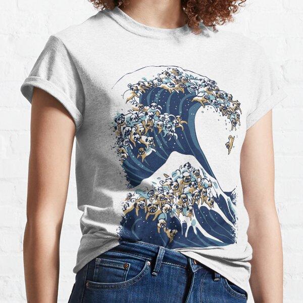 Die große Welle der Pugs-Vanille-Himmel Classic T-Shirt